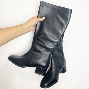 Tall Blondo Black Leather Boots (waterproof)- Mint